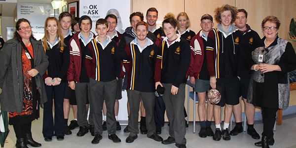 Galen VCAL students with Di Ward, NHW's School Based Programs Coordinator and Margaret Bennett, NHW's CEO